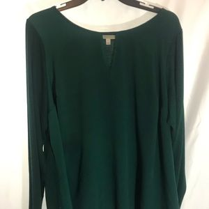 Green silky front long sleeve top 2XL